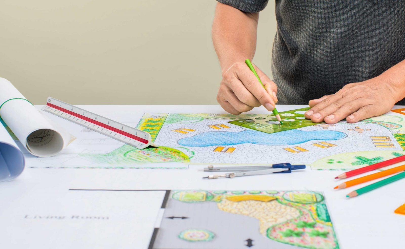 landscape designer drawing plans