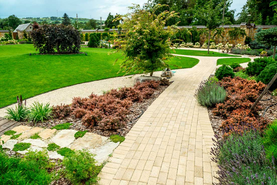 newly finished landscaping job pathway