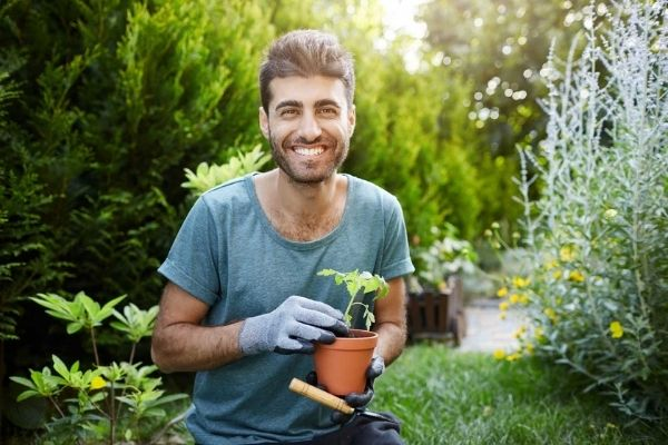 lead landscaper gardener planting